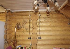 Дом из бревна (Ретро проводка, разный диаметр бревен)